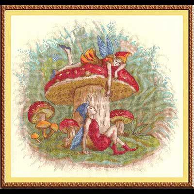 Вышивка эльфы на грибе 1