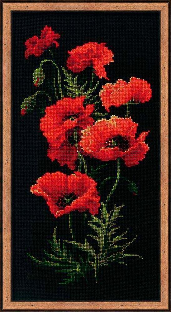 Вышивка красные цветы на черном фоне 12