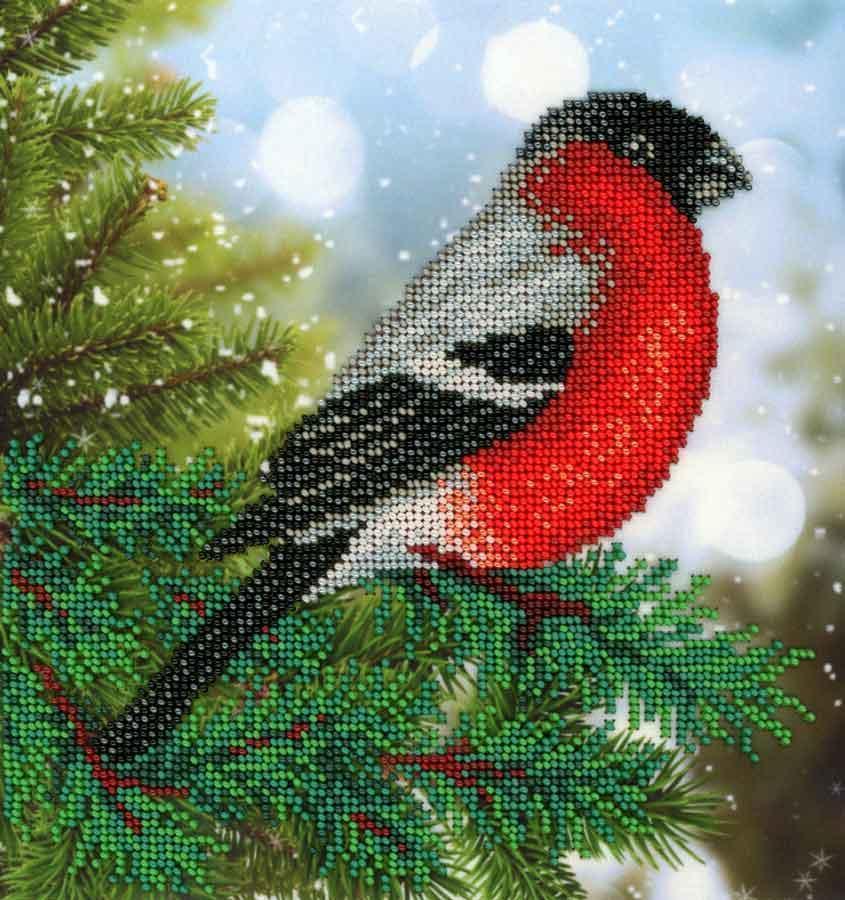 Вышивка бисером птички в лесу 21